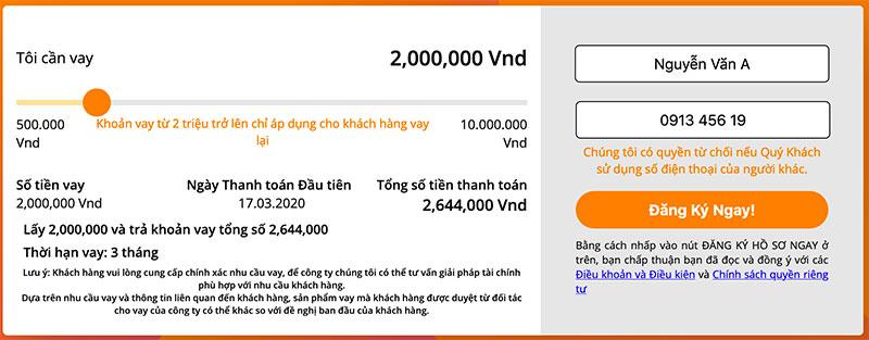 Gửi yêu cầu đăng ký vay tiền tại Money Cat