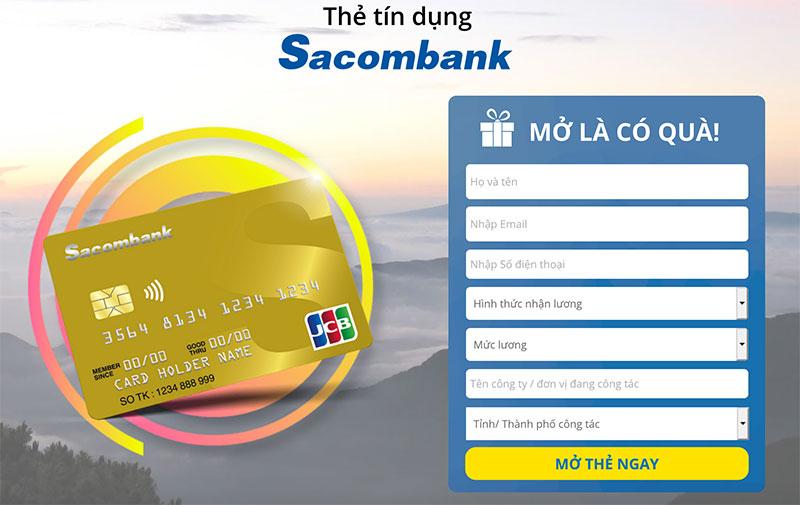 Trang đăng ký thông tin mở thẻ tín dụng Sacombank